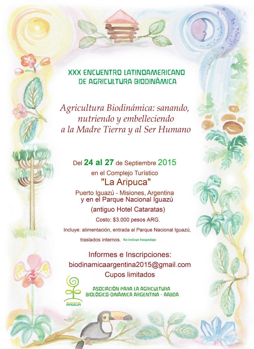 Afiche 30 Encuentro Latinoamericano de Agricultura Biodinamica-Iguazu Arg